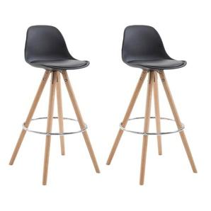 Lot de 2 tabourets chaise de bar en polyuréthane noir avec repose-pieds - DéCOSHOP26