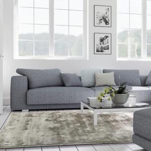 Tapis poil ras en viscose Donna Gris 120x170 cm - Tapis poil court design moderne pour salon