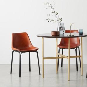 Bortolin table ronde 4 personnes, bois de manguier et laiton