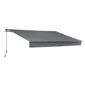 Store banne Alombra 4x2,5m gris, aluminium, système manuel, sans coffre, toile polyester enduite 280g, ombrage mural - ALICES GARDEN