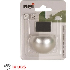 Boîte avec 10 Arrêt de porte avec aimant adhésif de marque REI, en plastique, avec fini chrome mat et design arrondi