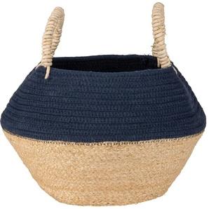 Panier en fibre végétale et coton bicolore à pompons