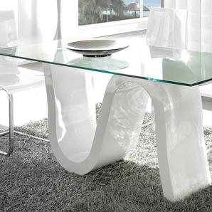Table à manger en verre et laqué blanc design CAMPARI