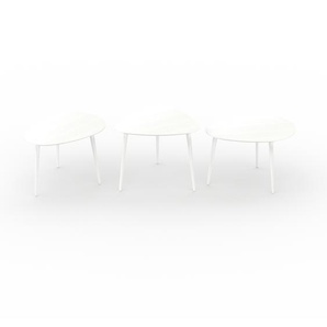 Tables basses - blanc, ovale/triangulaire/ovale, design scandinave, set de 3 tables basses - 67/59/67 x 44/50/44 x 50/61/50 cm, personnalisable