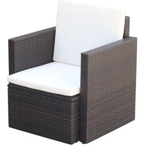 Chaise de jardin et coussins et oreillers Résine tressée Marron - VIDAXL