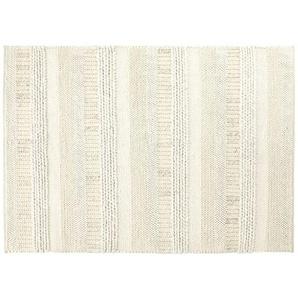 Tapis en laine tressée écrue et grise et imprimé bayadère 140x200