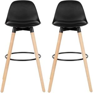 Lot de 2 tabourets de bar - Simili cuir - Pieds en bois hêtre massif - Style scandinave - L 39,5 x P 44 cm - Noir - OOBEST
