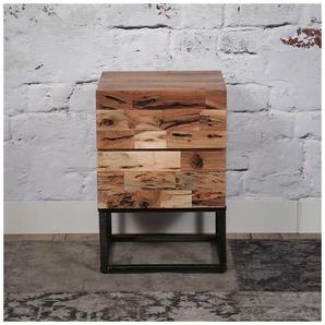 Table de chevet 2 tiroirs en acacia et métal Otello - Acacia foncé - DELADECO