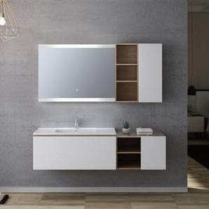 Meuble salle de bain ALASSIO 1000 scandinave vintage et blanc