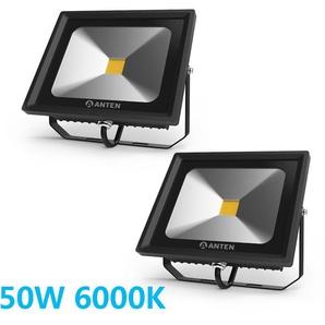 2×Anten 50W Projecteur LED Extérieur Spot LED Ultra-Mince IP65 Étanche Éclairage de Sécurité Puissant Lampe Blanc Froid 6000K
