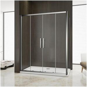 Cabine de douche 160x100x190cm porte de douche à laccès au centre + paroi latérale - OCEAN SANITAIRE