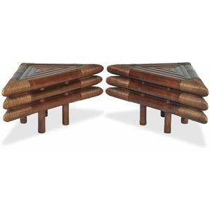 Table de nuit chevet commode armoire meuble chambre 2 pcs 60 x 60 x 40 cm bambou marron foncé - Marron - HELLOSHOP26