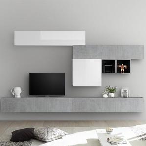 Ensemble meuble TV blanc laqué et gris béton GALATINA