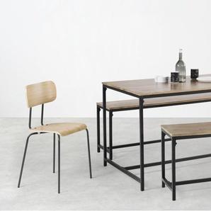 Lomond, ensemble table et 2 bancs, bois de manguier et métal noir