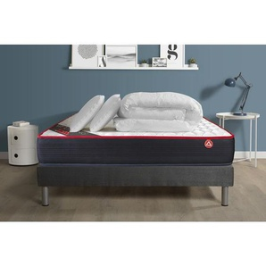 Pack prêt à dormir VITALSPRING 140x190 Ressorts ensachés 3 zones Ultra épaisseur + sommier kit gris + 2oreillers + couette - VITALIT