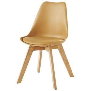 Chaise style scandinave jaune et chêne Ice