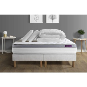 Pack matelas 180x200 + double sommiers 90x200 Memo Zen Mousse à mémoire de forme 5 zones de confort MAXI épaisseur + Couette - SEPTNUITS