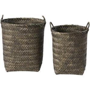 2 paniers en bambou tressé gris anthracite