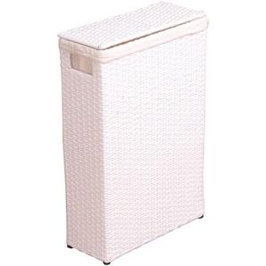 Panier à linge en poly-rotin blanc avec tissu de protection - DéCOSHOP26
