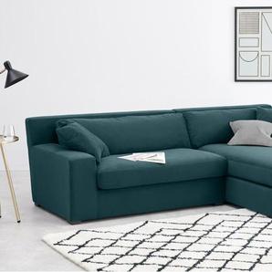 Delaney, canapé d'angle avec méridienne à droite, velours bleu lagon