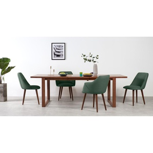 Lule, lot de 2 chaises, tissu vert sauge et noyer