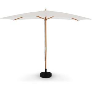 Parasol droit rectangulaire en bois 2x3m - Cabourg Ecru - mât central en bois, système douverture manuelle, poulie - ALICES GARDEN