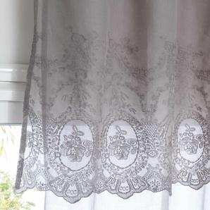 Rideau à nouettes en coton gris brodé à lunité 140x260