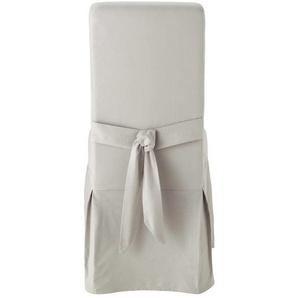 Housse de chaise avec nud en coton gris clair Margaux