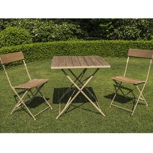 Ensemble de jardin en robinier cérusé - BISTRO - 1 table + 2 chaises - CHALET & JARDIN