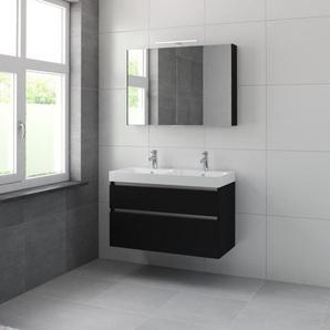 Bruynzeel Pinto Meuble avec armoire de toilette 100cm Noir soie 223057k