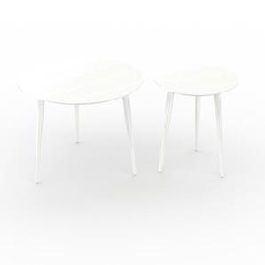 Tables basses - blanc, ronde/ronde, design scandinave, set de 2 tables basses - 60/40 x 47/47 x 60/40 cm, personnalisable