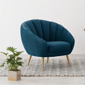 Primrose, fauteuil, velours bleu pétrole