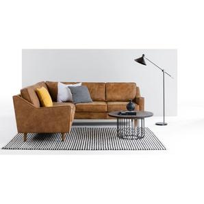 Dallas, canapé d'angle panoramique, cuir de qualité supérieure marron clair