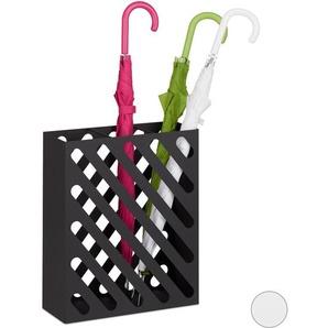 Porte-parapluie XL, Porte-cannes rectangulaire, acier, portable, 48 x 40 x 15 cm, Noir - RELAXDAYS