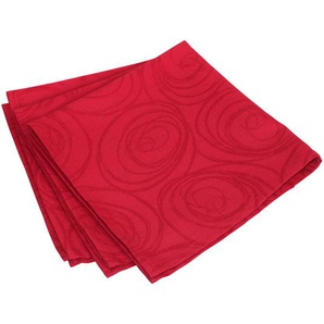 Lot de 3 serviettes de table 45x45 cm Jacquard 100% coton SPIRALE rouge