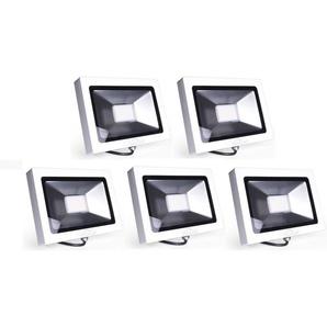 5×Auralum 50W Projecteur LED Ultraléger IP65 Spot LED 3700LM Lumière Extérieur et Intérieur Blanc Chaud 2800-3200K avec Coque Blanche