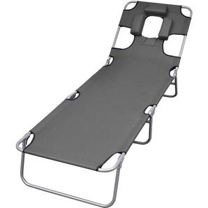 Chaise longue pliable et coussin de tête Dossier réglable Gris - VIDAXL