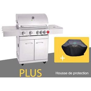 BBQ Grill Barbecue À Gaz INOX PHÉNIX - 4 BRÛLEURS+1 FEU LATÉRAL et Thermomètre, Puissance Totale 17.5KW, Grille/plancha offerts + Housse - GREADEN