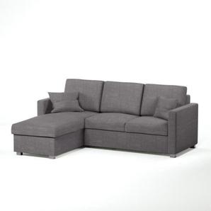 JULES Canapé dangle réversible convertible 4 places + Coffre de rangement - Tissu gris - Contemporain - L 220 x P 166 cm