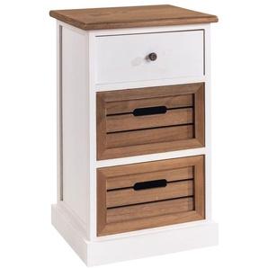 Table de chevet CORNELIA petite commode de nuit avec 1 tiroir et 2 caisses de rangement, en bois de paulownia blanc et brun - IDIMEX