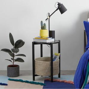 Pipel, table de chevet, bois teinté noir et rotin