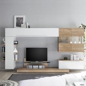 Ensemble télé suspendu blanc et couleur bois clair TARENTA
