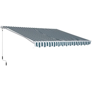 Store banne manuel rétractable aluminium polyester imperméabilisé 3L x 2,5l m vert blanc rayé - Outsunny
