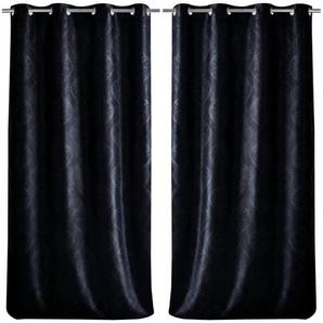 Paire de double rideaux occultant à motif baroque 140x260cm noir