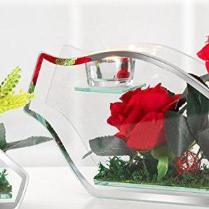 Flirt by R & B Chandelier avec Rose Rouge, Bougeoir avec Rose 28 cm