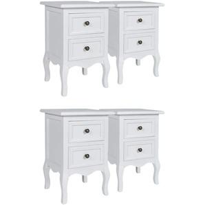 Table de nuit chevet commode armoire meuble chambre 4 pcs avec 2 tiroirs mdf blanc - Blanc - HELLOSHOP26