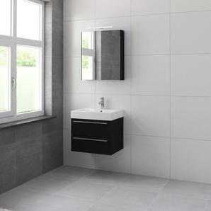 Bruynzeel Bando Meuble avec armoire de toilette 60cm Noir soie 616613k