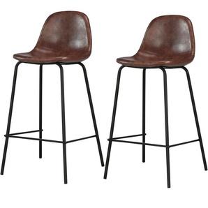 Chaise de bar mi-hauteur Henrik marron 65 cm (lot de 2) - RENDEZ VOUS DéCO