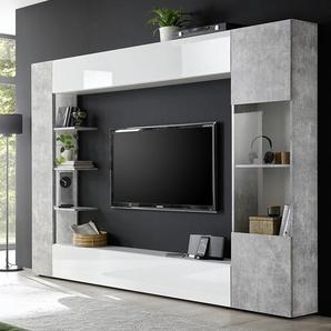 Meuble tv mural blanc et béton SOPRANO 2