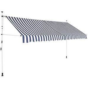 Auvent rétractable manuel 400 cm Rayures bleues et blanches - VIDAXL